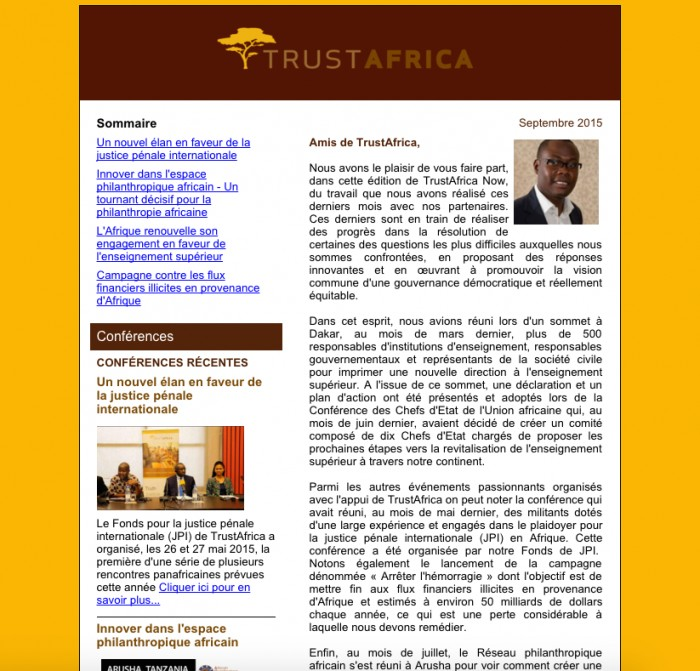TrustAfrica Newsletter - Septembre 2015
